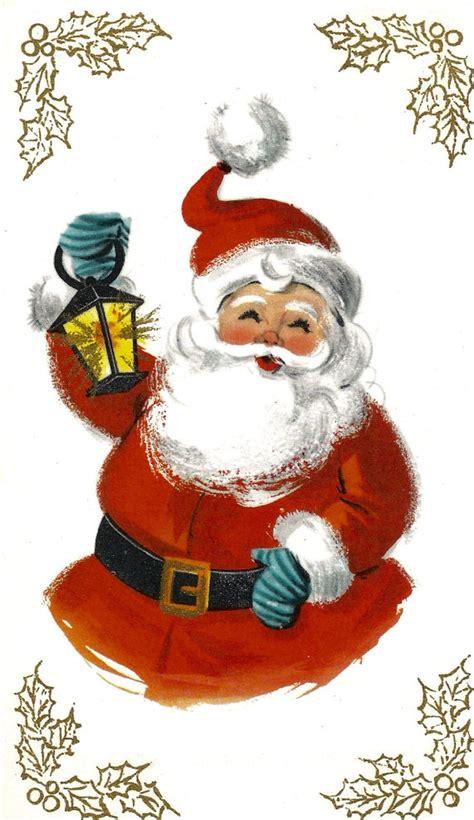 imagenes de santa claus para whatsapp vintage retro santa claus christmas card lantern digital