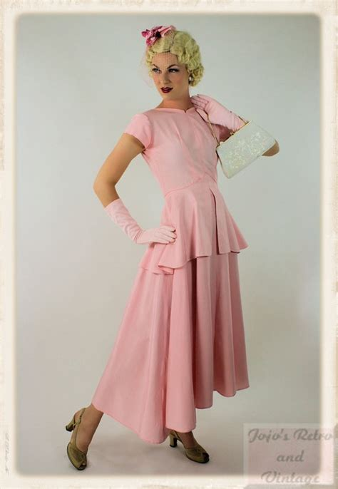 Cpmk Feminime Pink hair styles collection what a marvelously feminine 1940s inspired cotton pink hued peplum