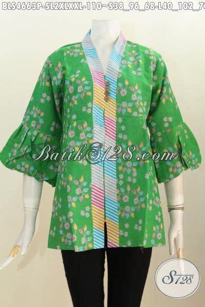 desain batik mudah blus batik warna hijau motif keren busana batik kerah