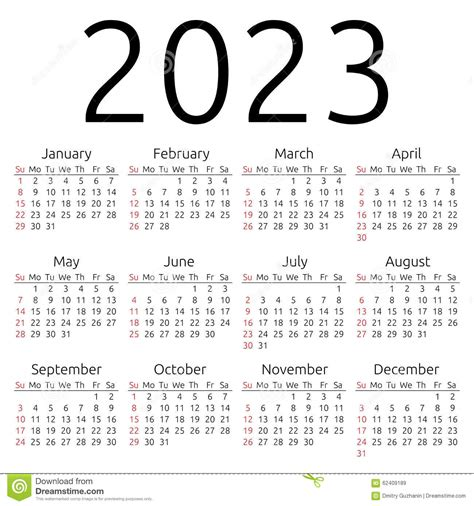 vector calendar 2023 sunday stock vector image 62409189
