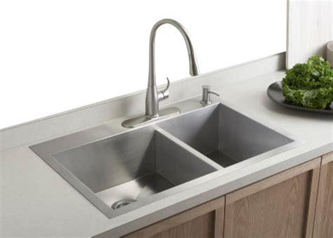 4 hole kitchen sink faucet kohler k 3823 4 na vault offset kitchen sink with four