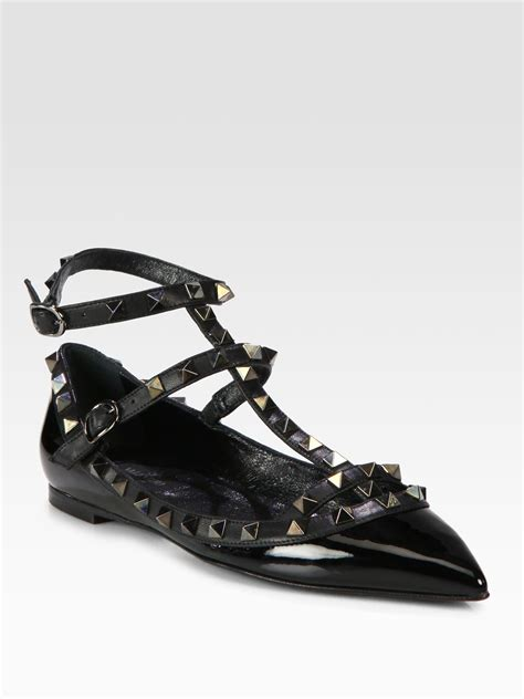 valentino shoes flats valentino noir rockstud cage flats in black lyst