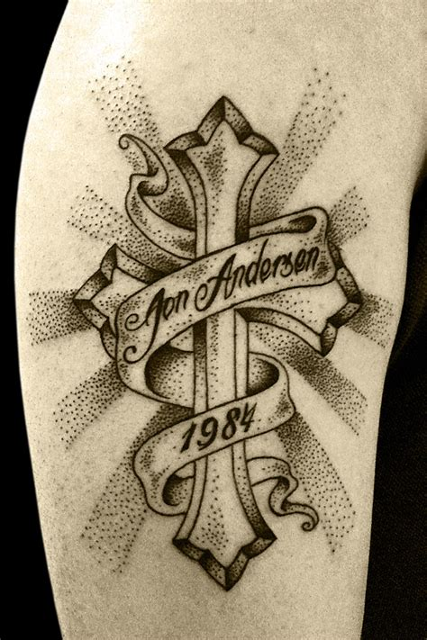 cross with a banner tattoo designs cross tattoos page 19