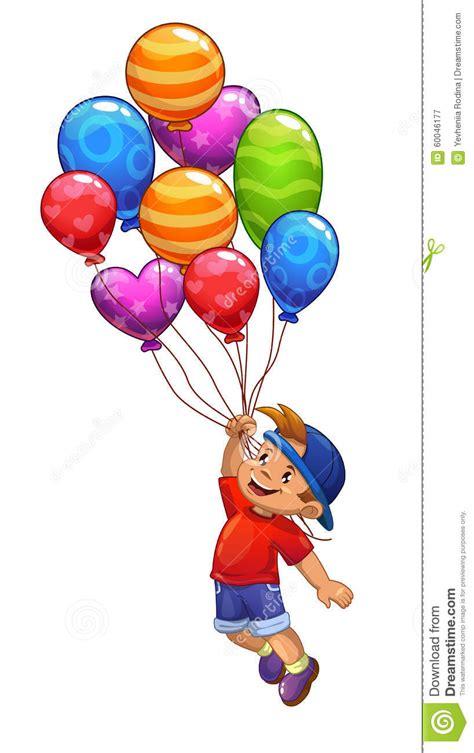 imagenes de niños jugando con globos el ni 241 o peque 241 o est 225 volando en los globos stock de