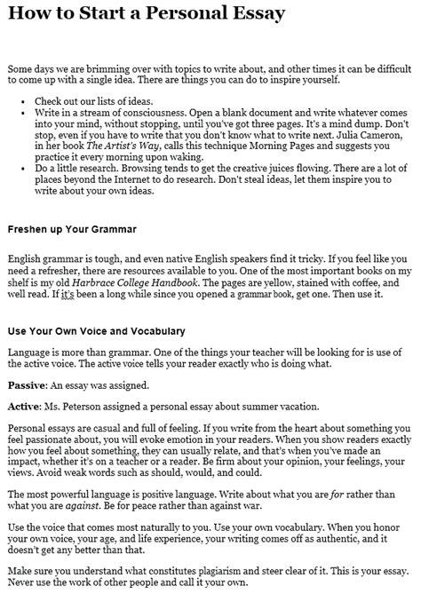 write  personal essay step  step guide