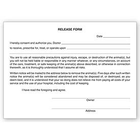 Business Forms Veterinary Release Form Pads 20976 By Deluxe Veterinary Release Form Template