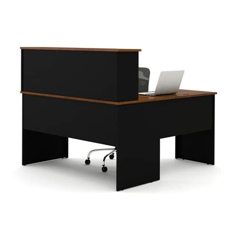 Black L Shaped Desk With Hutch Bestar Somerville L Shaped Desk With Hutch In Black And Tuscany Brown 45850 18