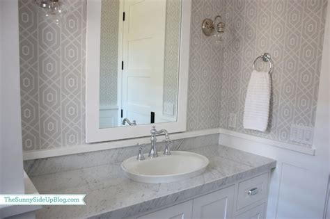 grey wallpaper powder room gray geometric wallpaper transitional bathroom sunny