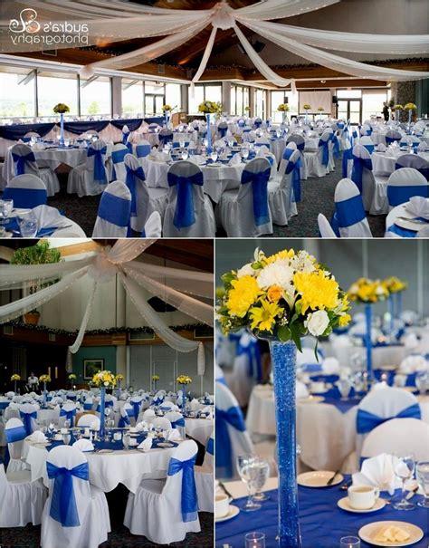 yellow and royal blue wedding decoration ideas reception
