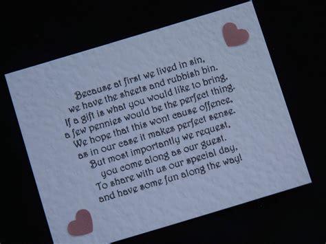 hochzeitseinladung einlegeblatt handmade wedding gift money poems for wedding invitations