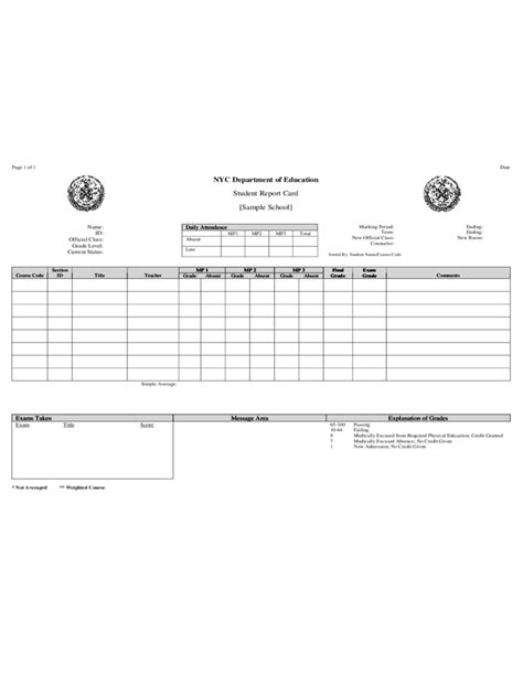 Nyc Report Card Template by Student Report Card Nyc Department Of Education Free