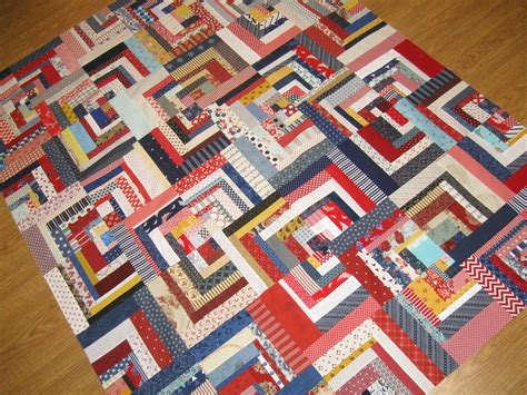Log Cabin Quilt by Happy Quilting Scrappy Log Cabin Quilt Top