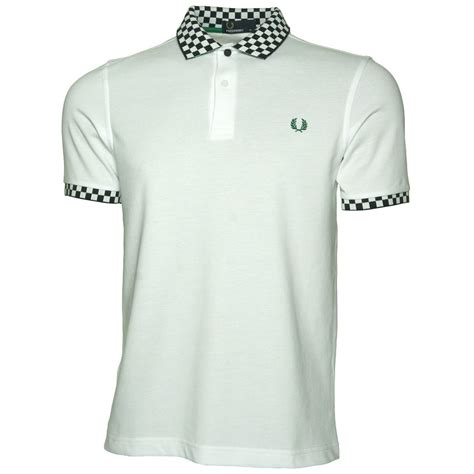 Polo Square Checked Black buy fred perry checkerboard trim shirt in white jon barrie