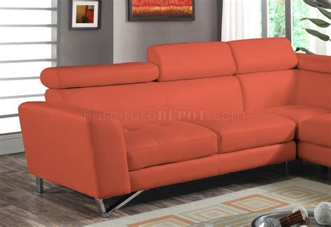 Orange Sectional Sofa 4026 Sectional Sofa In Orange Sateen Microfiber Fabric