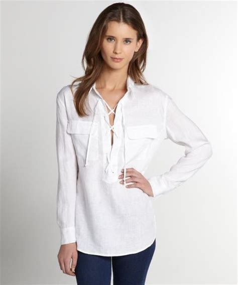 Lace Up Linen Blouse equipment linen lace up sleeve blouse in white