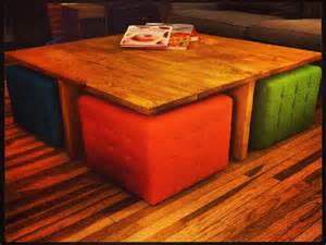coffee table with ottomans has the dual function of a room