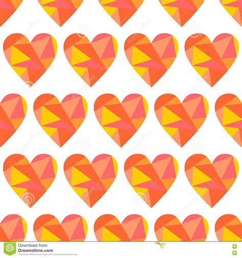 geometric pattern of love vector seamless pattern with hearts polygonal design