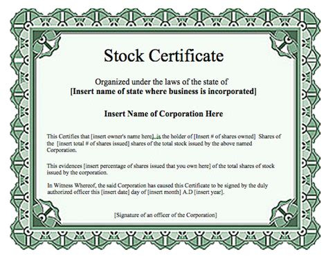 Stock Certificate Template by Certificate Templates Archives Word Templates Word
