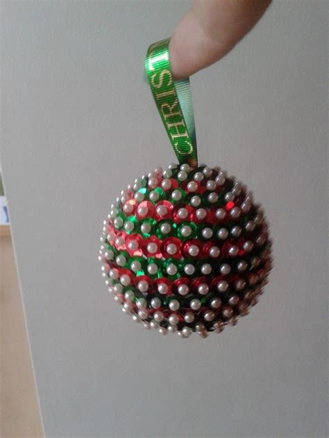 christmas bauble made from a polystyrene ball sequins and