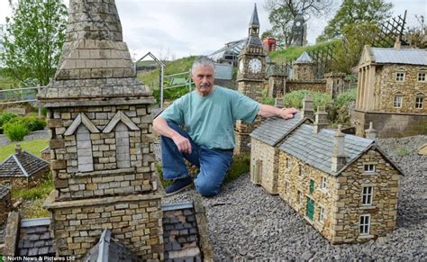 miniature garden houses builder scales down his work and creates three miniature villages in his garden