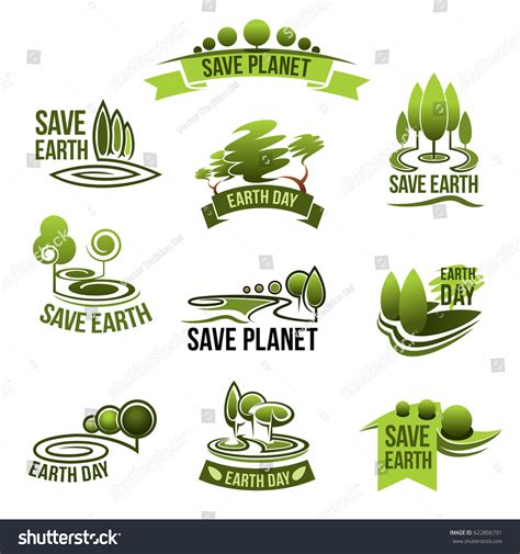 conservation through green building design earth habitat save earth icons green nature planet stock vector