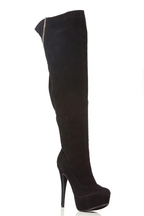 black faux suede thigh high platform boots cicihot boots