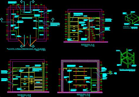 walking closet project dwg full project  autocad