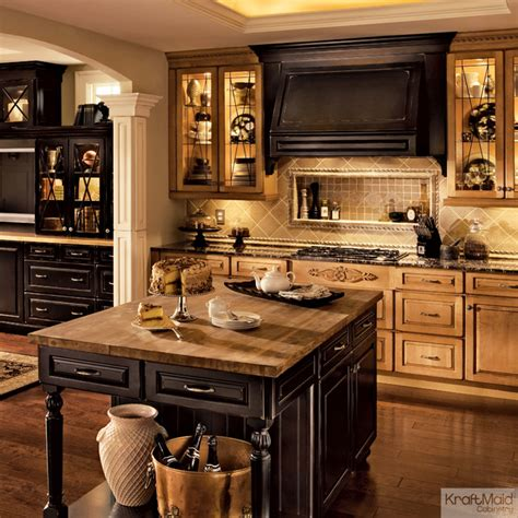 transitional kitchen cabinets kraftmaid cabinetry in burnished ginger vintage onyx