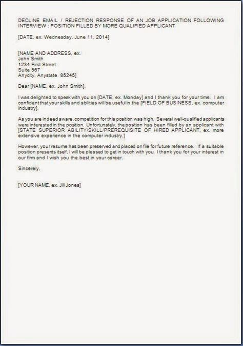 ideas of sample rejection letter after job interview for your