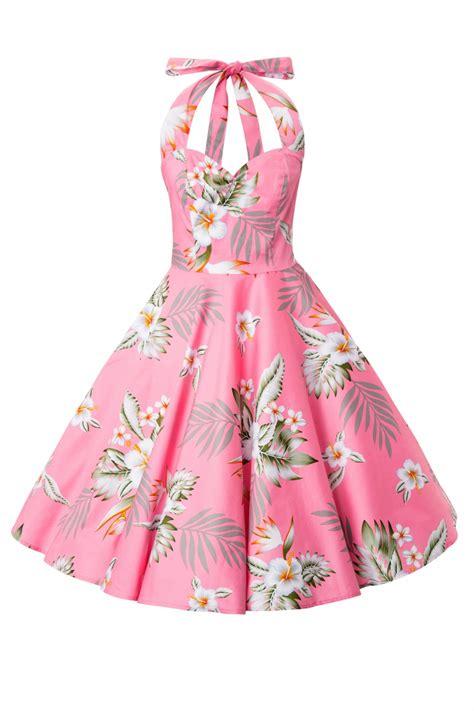 Alika Pink 50s retro halter 50s alika tropical dress in pink hibiscus