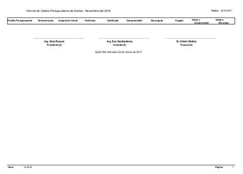 cdula c previdncia 2016 literal g3 informe de c 233 dula prespuestaria de gastos