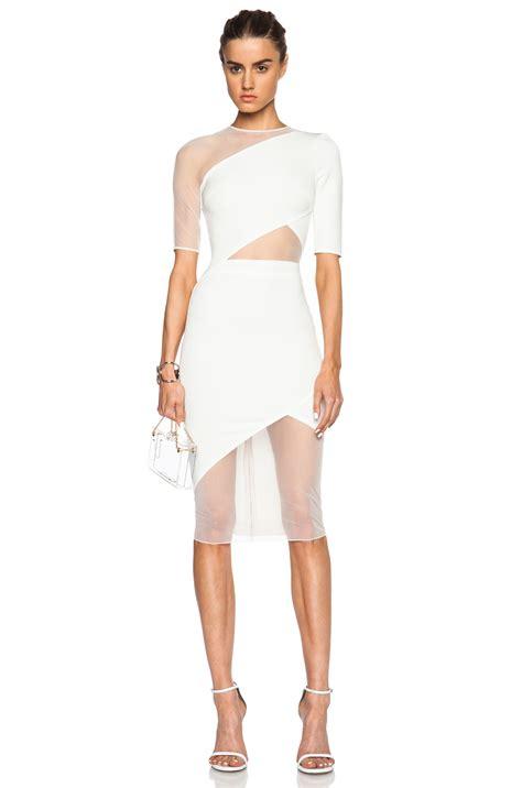 Mesh Mix Skater Dress W8741 White dewan tatum and ciara wear the same designer at west