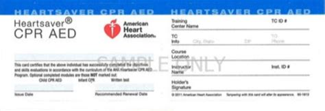 heartsaver cpr aed card template heartsaver cpr aed advantage aid cpr bls aed