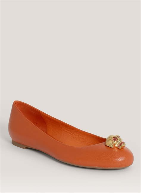 mcqueen skullembellished leather ballerina flats