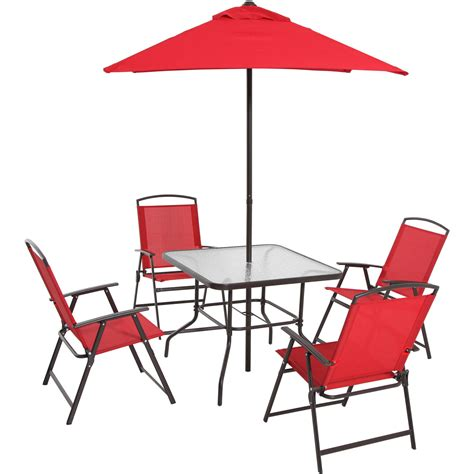 Patio Table With Umbrella And Chairs Patio Furniture Dining Set 6 Table Folding Chairs And Umbrella Fabric What S It Worth
