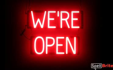 light up open closed sign we re open sign spellbrite led better than neon