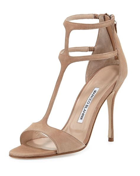 Manolo Blahnik Poppy Heels by Manolo Blahnik Cellin Suede T High Heel Sandal In