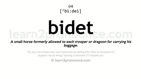 How To Pronounce Bidet by Bidet Pronunciation And Definition