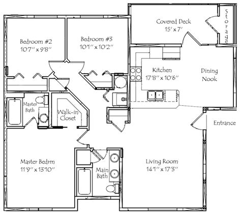 3 bedroom floor plan 3 bedroom 2 bath floor plans marceladick