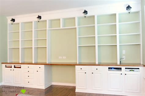 Wall To Wall Desk Diy Remodelaholic Build A Wall To Wall Built In Desk And Bookcase Built In Bookcase Plans In