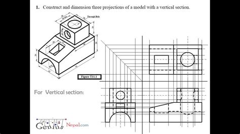 engineering drawing tutorialsorthographic  sectional views   youtube