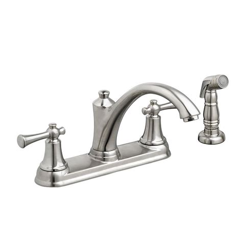 standard kitchen faucet american standard portsmouth 2 handle standard kitchen faucet with side sprayer in stainless