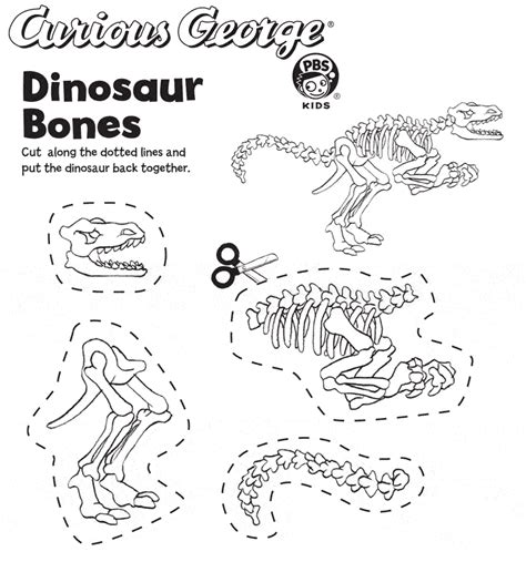 dinosaur bones color cut assemble slp 2013 dig into