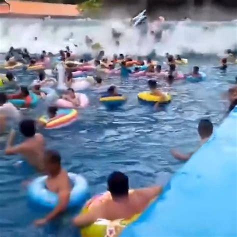 massive tsunami wave injures  people  amusement