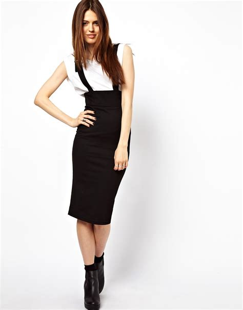 asos asos wasp pencil skirt in ponte with suspenders at asos