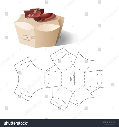 Retail Box Blueprint Template Stock Vector 407581996 Shutterstock Silhouette Box Template