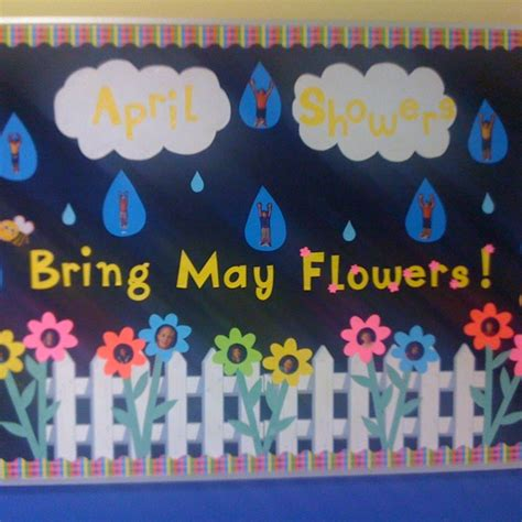 kindergarten themes for april and may april showers bring may flowers bulletin board