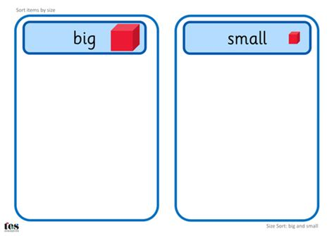 printable shapes big and small big and small size sort teacch activities by tesautism