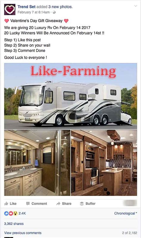 Rv Giveaway 2017 - surprise surprise valentine s day quot luxury rv quot facebook giveaways are scams hoax slayer