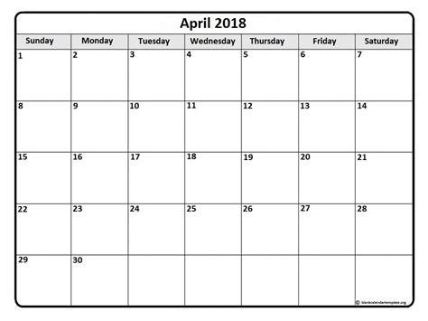 Galerry printable calendar template april 2018